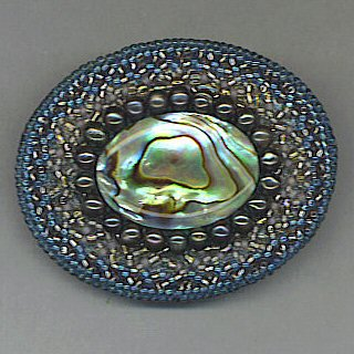 Oval brooch with abalone